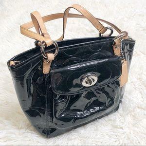 Black coach signature purse patent leather bag
